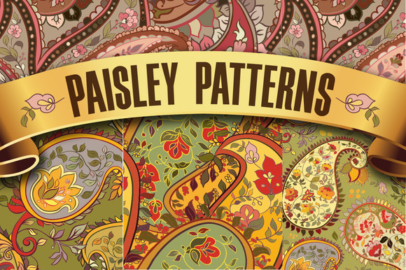 Set Of Paisley Seamless Patterns