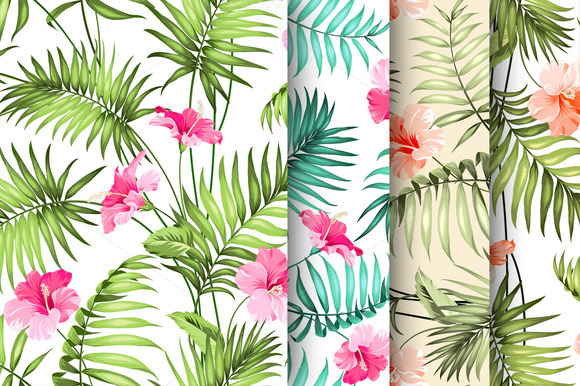Tropical Flowers Pattern Set