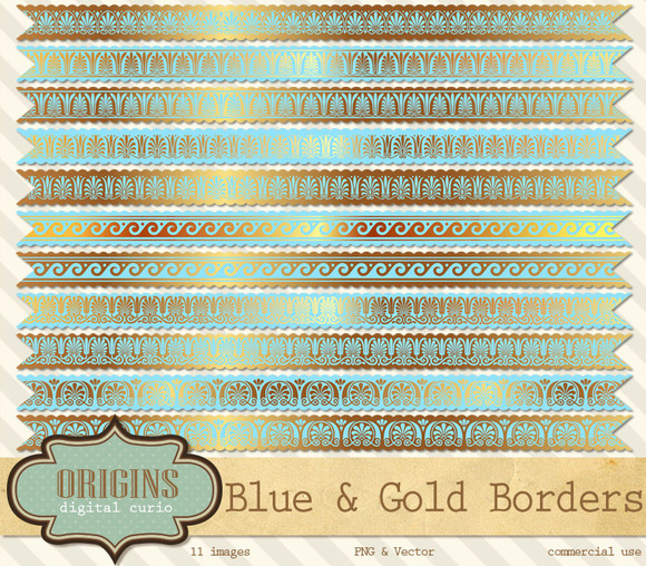 Blue And Gold Borders Clipart