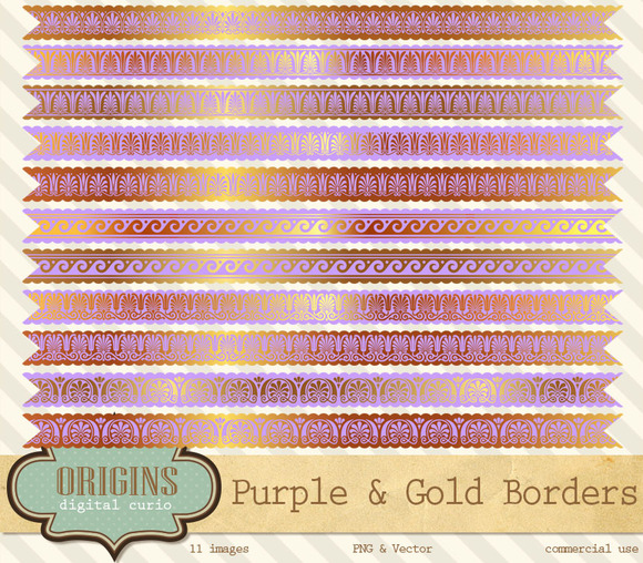 Purple And Gold Borders Clipart