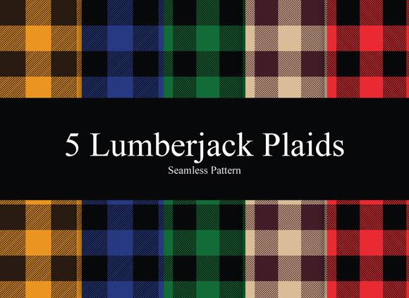 5 Lumberjack Plaid Seamless Patterns