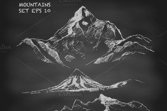 Mountains On Chalkboard
