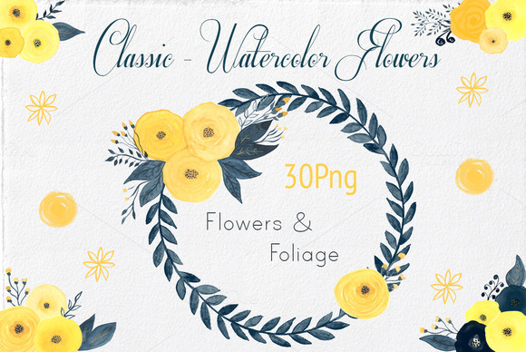30 Watercolor Flowers Foliages