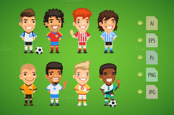 Cartoon International Soccer Players