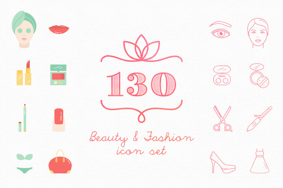 Set Of 130 Beauty Fashion Icons