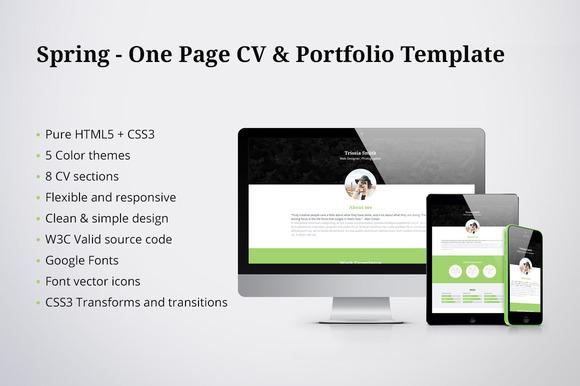 Spring One Page CV Portfolio