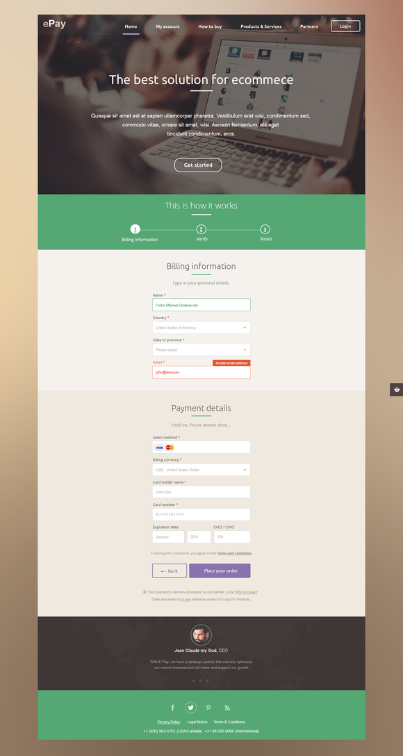 EPayment Landing Page