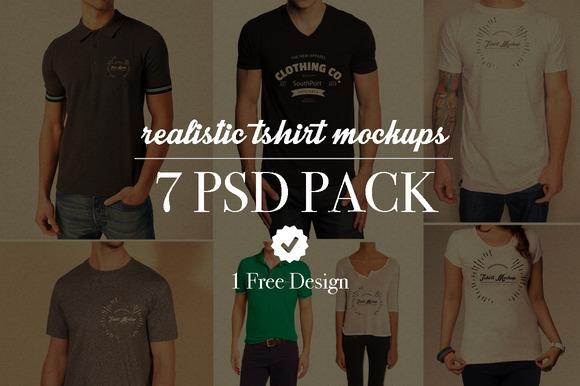 7 Realistic Tshirt Mockups