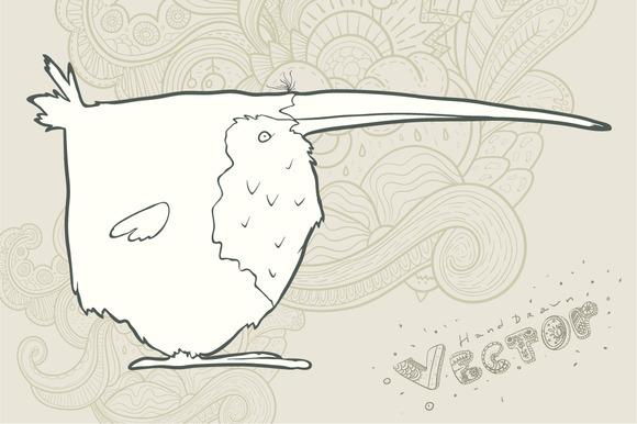 Hand Drawn Vector Cartoon Bird