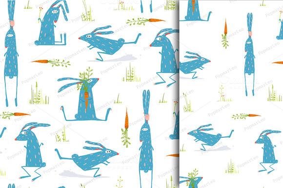 Rabbits Seamless Pattern Background