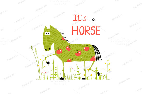 Fun Cartoon Horse In Grass Field