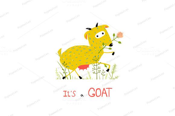 Fun Cartoon Goat Eating Flower