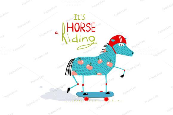 Cartoon Horse On Skateboard For Kids