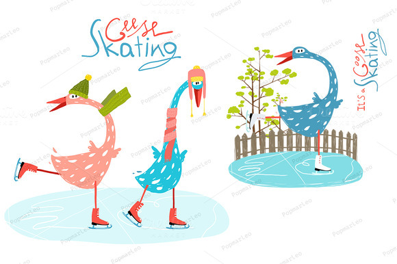 Colorful Ice Skating Geese For Kids