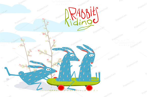 Cartoon Rabbits Riding Skateboard