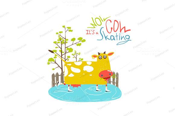 Cartoon Ice Skating Cow For Kids