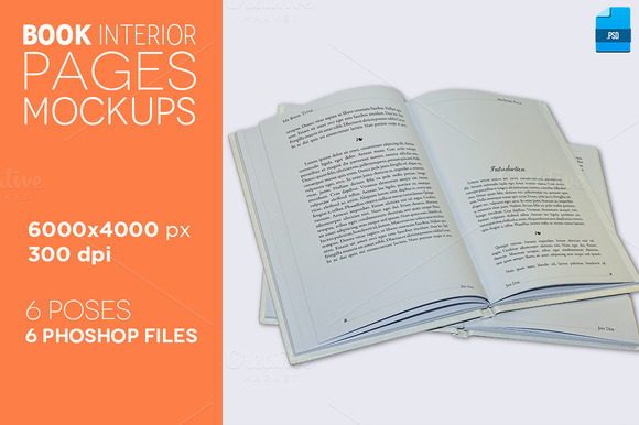 6 Book Interior Pages Mockups V.2
