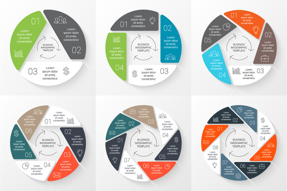 6 Circle Flat Linear Infographics