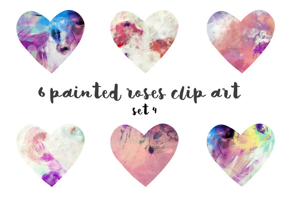 Painted Hearts Clipart Set 4