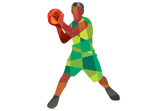 Basketball Player Ball In Action Low