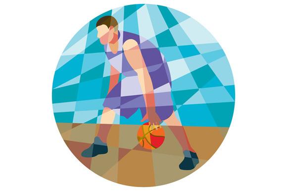 Basketball Player Dribbling Ball Cir