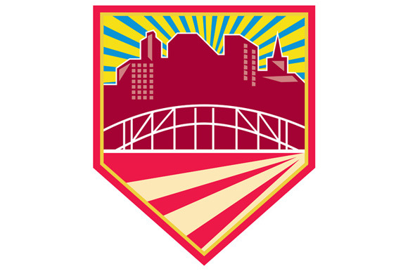 Skyscrapers And Bridge Retro Crest