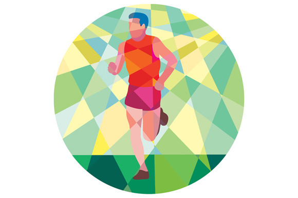 Marathon Runner Running Circle Low P