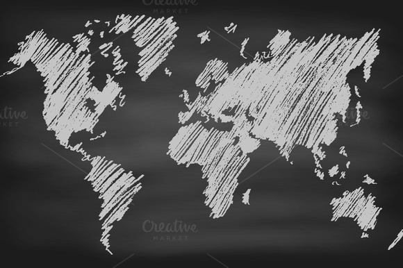 World Map Contour On Chalkboard