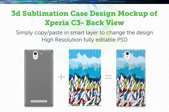 Xperia C3 3D Case Mockup
