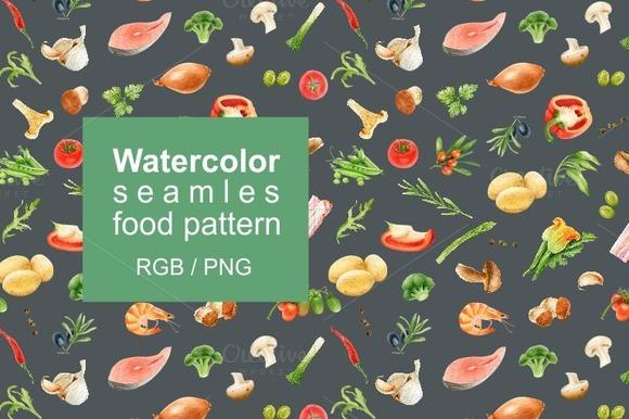 Watercolor Seamles Food Pattern