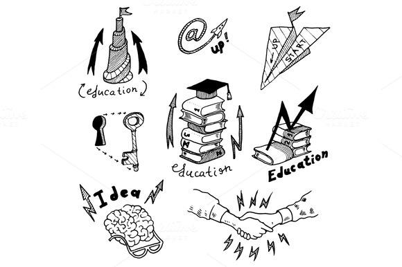 Online Education Doodles Icons Set