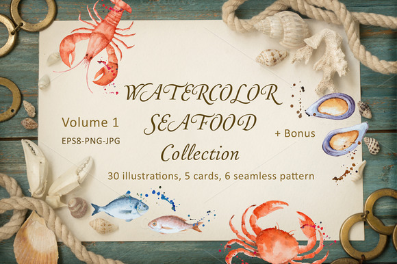 Watercolor Seafood Collection