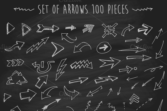 Set Of Arrows On Chalkboard
