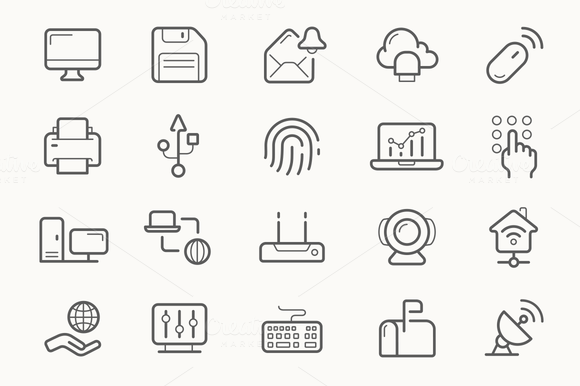 Home Network Electronics Line Icons
