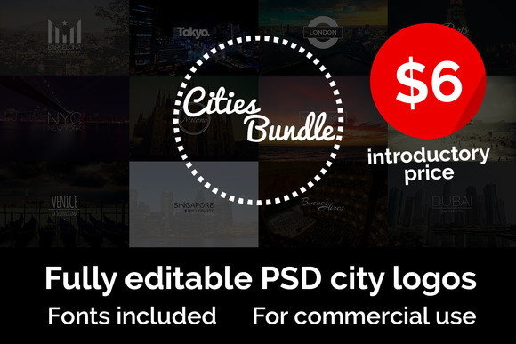 Cities Logo Bundle 50% Off