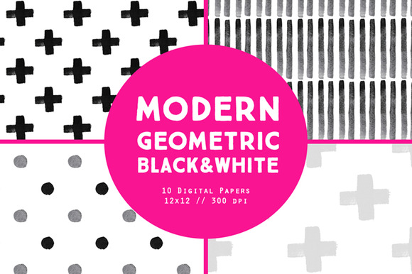 Black White Modern Digital Papers