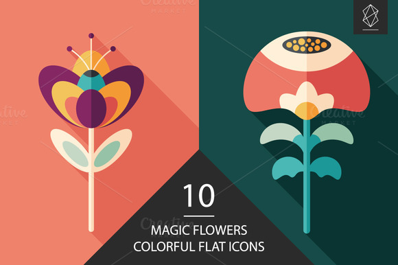 Magic Flowers Flat Icon Set