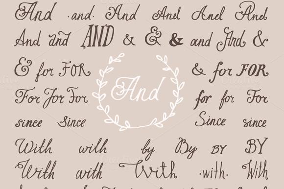 Hand Lettered Set Of Ampersands