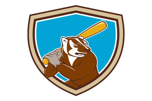 Badger Baseball Player Batting Shiel