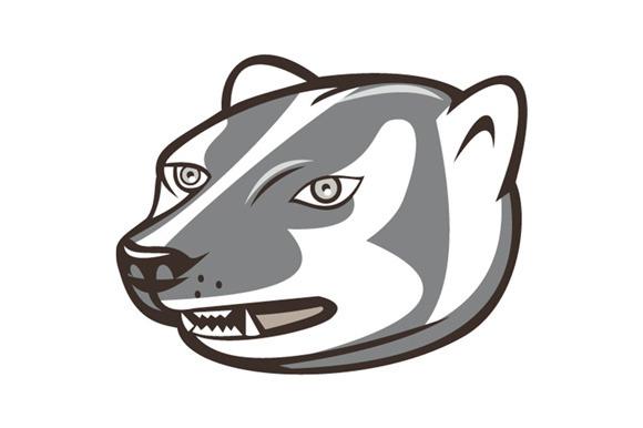 Badger Head Side Isolated Cartoon