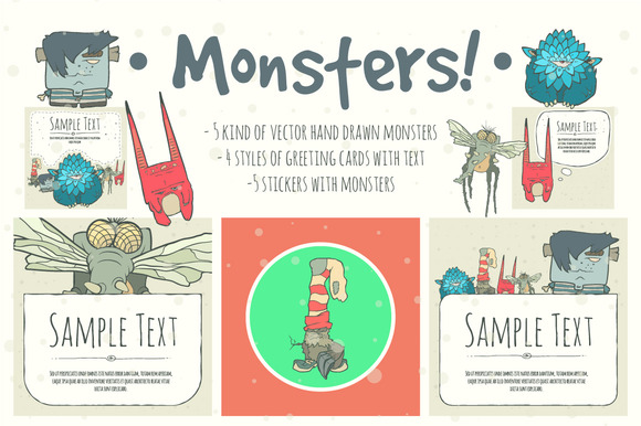 Set Of Hand Drawn Vector Monsters