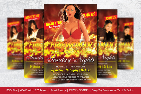 Firewoman Party Flyer