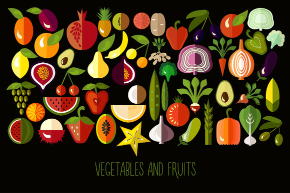 Flat Icons Of Fruits And Vegetables