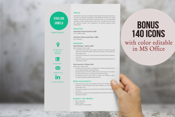 Big Icon Modern Resume Template