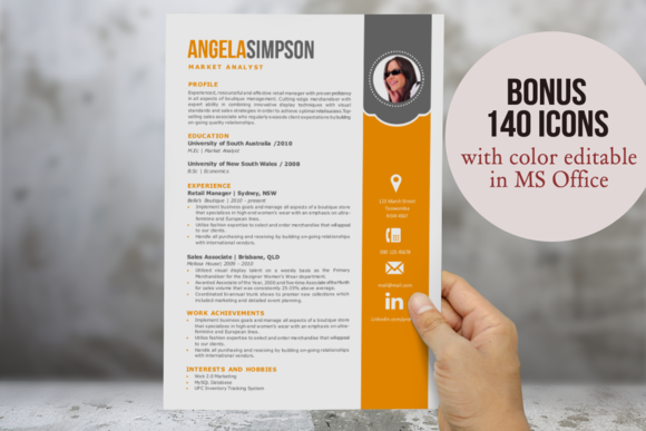 2 In 1 Stylish Word Photo Resume