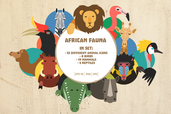 African Animal Icons Big Bundle
