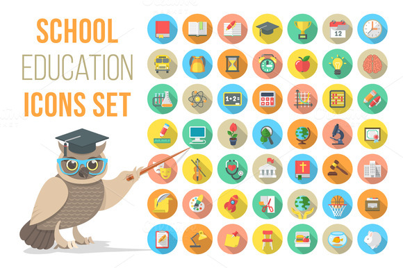 Vector Flat Round School Icons