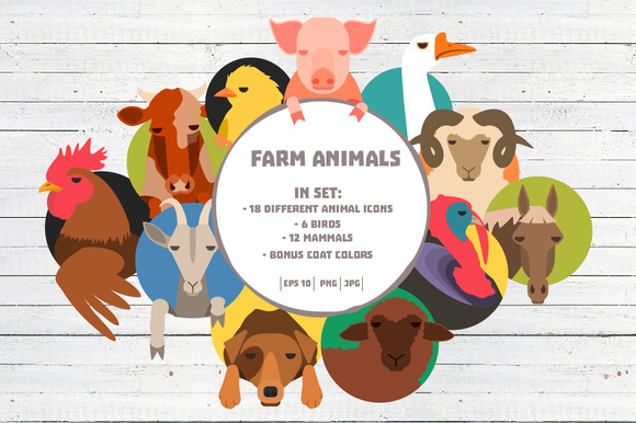 Farm Animals Set 36 Icons