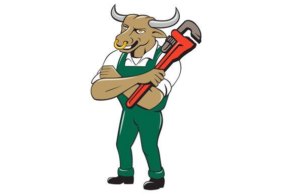 Bull Plumber Wrench Standing Isolate