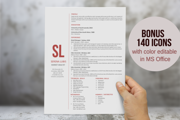 2 In 1 Simple Initial Word Resume
